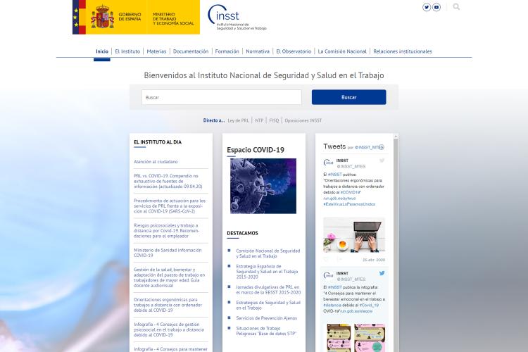 Páginas web sobre prevención de riesgos laborales.