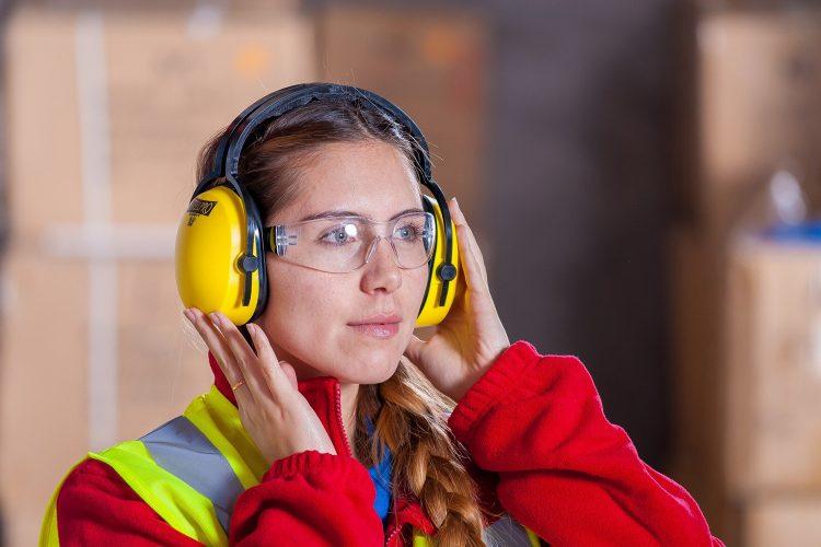 Gafas de protección graduadas en la industria.