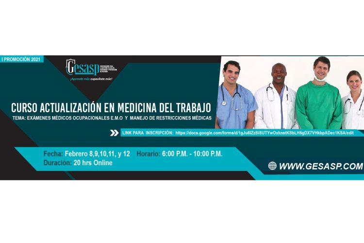 Curso actualización en medicina del trabajo.