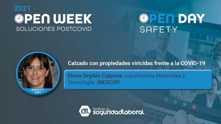 Elena Orgilés Calpena, subdirectora Materiales y Tecnología de Inescop. Safety Open Day 2021.